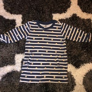 Navy stripes and gold circles long sleeve dress